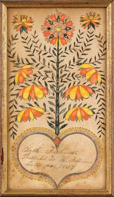 Fraktur is a highly artistic and elaborate illuminated folk art created by the Pennsylvania Dutch, named after the Fraktur script associated with it. Most Fraktur were created between 1740 and 1860.