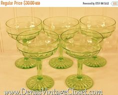 Lot of 5 Hocking Glass Company Green by DenasCollectibles on Etsy