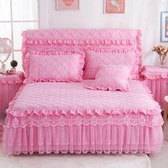 萱 feathers cotton bed skirt thick bedspreads bed cover single Korean version of the princess bed sets of three-piece anti-slip bed skirt plus cotton