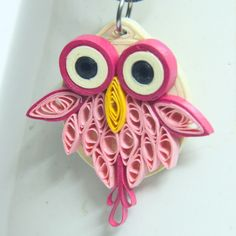 pink feather owl pendant paper quilled - Honey's Quilling