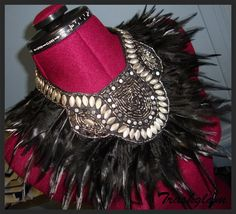 Trashglam  black feathered neck corset shoulder collar wrap Necklace high fashion couture on Etsy, $82.46