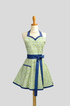 Womens Sweetheart Hostess Apron / Cute Handmade Retro Sweetheart Features Blueberries on Cream with Lime Green