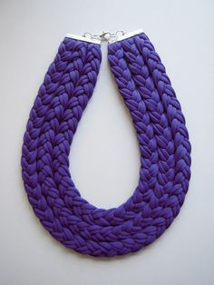 Triple braid necklace in purple fabric by birdienumnumshop on Etsy