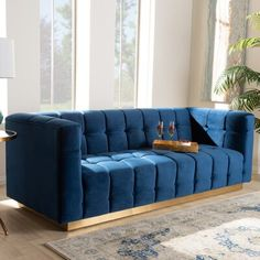 Baxton Studio Virgil Velvet Channel Tufted Sofa In Navy Blue Blue/gold Sofa Upholstery, Upholstered Sofa, Velvet Tufted Sofa, Velvet Bed, Blue Velvet Fabric, Modern Sectional, Baxton Studio, Modern Rustic Interiors, Living Room Sofa