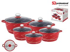 NEW & IMPROVED! NEW IN STOCK! Look out for our ceramic coated & induction ready NEA die-cast range. NEA Rossa - 5 casserole set in red, with ceramic coating and induction base, allowing for healthier cooking and better use of energy. Each comes with a tempered glass lid. PFOA free. Suitable for cooking on induction, gas, electric, halogen and glass ceramic cookers. Capacity & sizes: ø20cm - 2300ml / ø24cm - 3800ml / ø28cm - 6000ml / ø30cm - 7000ml / ø32cm - 9500ml.