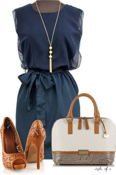 """Blue Dress"" by styleofe on Polyvore"