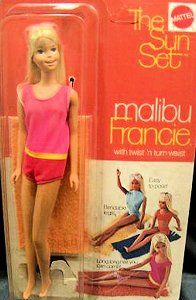 Sun Set Malibu Francie Doll. This was the only Barbie-like doll my mom would let me have. Less busty and she didn't have the arched feet that only wore high heels.