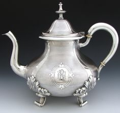 Elegant Antique French Sterling Silver Coffee or Tea Pot, Guilloche Style Decoration, LG Monogram Medallions