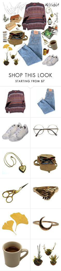 """Deborah"" by bufftsuki ❤ liked on Polyvore featuring Levi's, adidas, Maison d'usQ, Kodak, Lulu Frost, Laundry, Sweater, jeans, plants and oldschool"