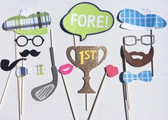 *Please check the shop announcement before purchasing for current turn around time, and for the current cut off date for deliveries of new orders*  This 14 piece photo prop bundle is perfect for any golf themed party! FORE!  These props are made with sturdy card stock material, and are attached to 12 dowels  This set includes the following: -2 plaid golfer hats (*PLAID PATTERN MAY VARY BASED ON AVAILABILITY*) -2 matching plaid bow ties -2 glasses: black and gray -1 black mustache -1 brown…