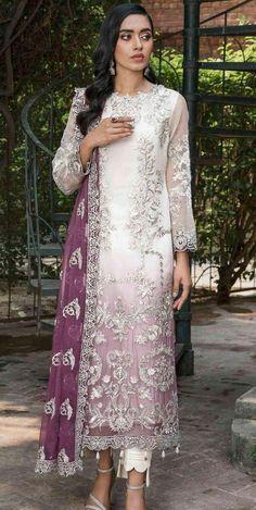 Pakistani Party Wear, Pakistani Dresses, Indian Dresses, Pakistani Suits, White Chiffon, Chiffon Dress, Chiffon Shirt, Pakistani Salwar Kameez, Salwar Suits
