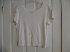 Woman's Knit Top Coldwater Creek 100% Cotton Large Short Sleeve White #ColdwaterCreek #KnitTop #Casual