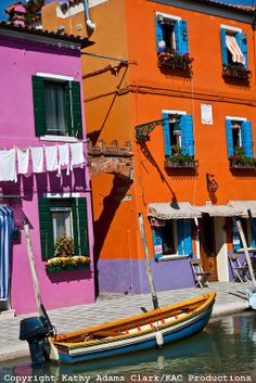 Burano, Italy, a colorful town located in the Venice Lagoon about an hour by boat from Venice, Italy.