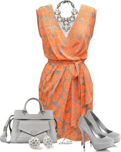 A fashion look from March 2013 featuring orange wrap dress, suede pumps and purse clutches. Browse and shop related looks. Work Fashion, Fashion Looks, Fashion Outfits, Womens Fashion, Fashion Beauty, Mode Plus, Looks Chic, Work Attire, Summer Dresses For Women