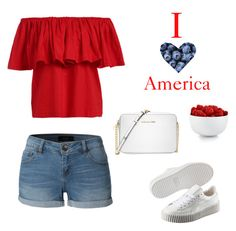 """""""Already planned my 4th Of July Outfit"""" by girlgme ❤ liked on Polyvore featuring LE3NO, Puma, The Cellar and Michael Kors"""