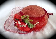 Vintage 1940s Red Straw Hat w Flowers Ribbon & Veil - For sale on Ruby Lane