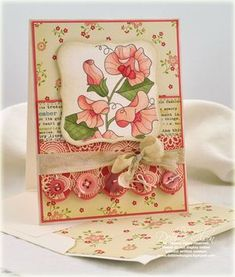 What a strikingly beautiful sweet pea stamped card. #card #stamping #scrapbooking #pink #spring #buttons #crafts #handmade #sweat_peas