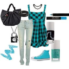 Spring Flirty punk style. teals and black with chucks. plaid empire flow tank ripped jeans black bag.