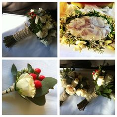 rustic bouquet with white roses