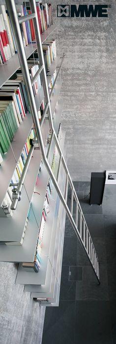 TANGENS library ladder manufactured by MWE / Designed by Mario Wille / www.mwe.de/en/sliding-ladders/classical-sliding-ladders/sliding-ladder-tangens-en