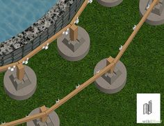 How to Build a Deck Around an Above Ground Pool. When you build a deck around an above-ground pool, you instantly increase the value, attractiveness and functionality of your. Pool Deck Plans, Deck Building Plans, Building A Pool, Above Ground Pool Steps, Above Ground Pool Landscaping, In Ground Pools, Oberirdischer Pool, Swimming Pool Decks, Lap Pools