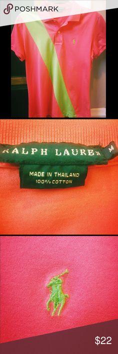 Ralph Lauren M flamingo & lime green Polo shirt Ralph Lauren M flamingo & lime green short sleeve Polo shirt Ralph Lauren Tops