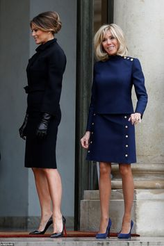Brigitte Macron greets Melania Trump at the Élysée Palace in Paris - The pair looked pleased as they met prior to their lunch with U.S President Donald Trump and French - Trump Melania, First Lady Melania Trump, Casual Fall Outfits, Classy Outfits, Milania Trump Style, First Ladies, Moda Chic, Elegant Outfit, Women Life