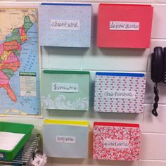 This could be very useful once the kids learn how to use it, however, I know that I would want more than just a few little boxes and I don't know that putting them on the wall would be the best idea because then you have to worry about whether or not you are using strong enough card stock that will hold to the wall while keeping the papers from not spilling all over the floor.