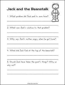 Jack And The Beanstalk Worksheets And Printables Packet For Kids Jack And The Beanstalk Jack Worksheets