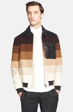 J.W.ANDERSON J.W. ANDERSON Stripe Leather Pocket Bomber Jacket available at #Nordstrom