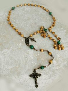 Jerusalem Olive Wood Malachite Antique Bronze Our Lady Of Guadalupe Rosary