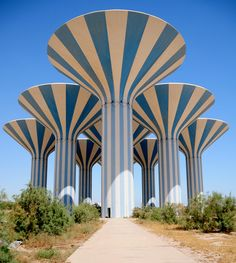 Kuwait Water Towers photographed by Bu Yousef  The towers are mushroom water towers, an optimal design to capture water, which originated in Sweden.