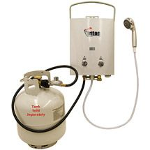 This portable hot water heater shower is great for camping trips and emergency backups during power outages. The shower unit features adjustable water flow and heat, automatic ignition, and a regulator and hose for a propane tank. Top Tents, Roof Top Tent, Camping Gear, Camping Hacks, Camping Water, Backpack Camping, Camping Guide, Backpacking Gear, Camping Survival