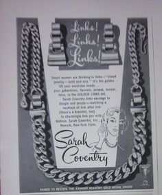 1953 Vintage Sarah Coventry Links Jewelry Ad | eBay