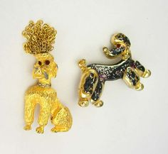 Vintage Fancy Poodle Brooches Chain Hair  by NeatstuffAntiques, $40.00
