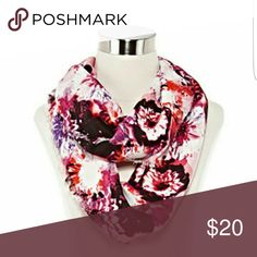 """🆕 NWT Midnight Floral Infinity Scarf Beautiful and lightweight floral infinity scarf. 18"""" x 36"""" with .5"""" fringe. White background. Rayon, dry clean only. Brand new with tags. Wear it several ways! Spectrum Accessories Scarves & Wraps"""