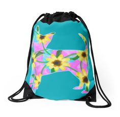 Chihuahua Sunflower Watercolor Drawstring Bag by NestToNest