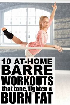 Barre exercises include postures from ballet yoga and pilates and while the moves are slight the benefits and results (lean toned muscles) can be pretty impressive. Perfect for beginners these at home barre workout videos and routines require very l Fitness Workouts, Pilates Workout, Barre Workout Video, Barre Exercises At Home, Fitness Motivation, Yoga Pilates, Workout Videos, At Home Workouts, Barre Workouts