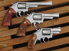 """Smith & Wesson Model 66 family. The Combat Masterpiece in stainless steel - .357 Magnum beauties. There is not a 3"""" version here but it was never a """"mainstream"""" model. - Beretta 92A1 Compact Wood Grips http://www.rgrips.com/en/beretta-92-96-compact-grips/85-beretta-92-96-compact-grips.html"""