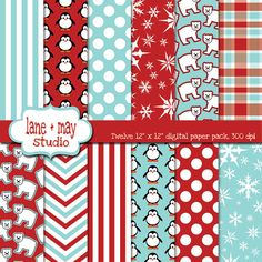 digital papers red and aqua penguin and polar bear patterns