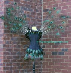 Pick Size-Peacock Fairy Feather Brocade Moulin Burlesque Rouge Costume w/Feather Wings