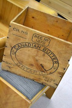 "Vintage Canadian Wooden Butter Box / Crate - 56 LBS Net - 13.5"" W x 14"" D x 11.5"" T Mom made footstools from these."