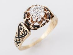 Antique Engagement Ring Victorian .61 Old Mine Cut Diamond in 18k Yellow Gold-Minneapolis, Minnesota www.filigreejewelers.com
