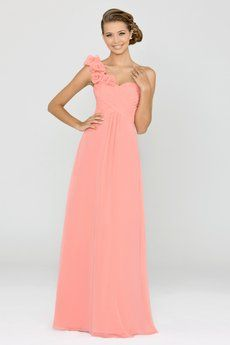 Alexia Design Bridesmaid dresses - Bella chiffon bridesmaid dress with pleated bust & ruffle shoulder. Also available in knee length as style 152S. Take a closer look at Absolute Haven Bridal (Tallahassee, Florida).