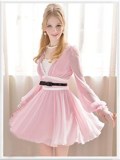 Morpheus Boutique  - Pink V Neck Chiffon Hem Long Sleeve Pleated Dress, $159.99 (http://www.morpheusboutique.com/pink-v-neck-chiffon-hem-long-sleeve-pleated-dress/)