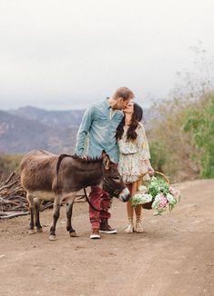 Malibu engagement session with a donkey