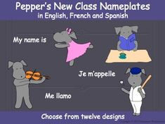 Pepper brings you twelve nameplate designs and one blank design for anyone who wishes to design their own picture.  The twelve pictures are:  Pepper dancing, playing a violin, playing basketball, playing baseball, walking in the autumn/fall, flying a kite, rowing a boat, reading a book, walking in the snow, toasting marshmallows, standing in the rain, and Pepper waving.The nameplates are available in color and in black and white to be colored by students.