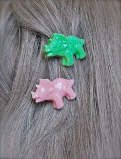 hand made pair of sparkly pastel kawaii triceratops dinosaur bobby pins  you choose pastel color for each dino!  custom orders include