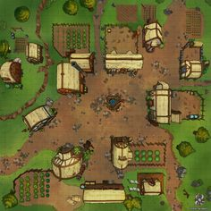 Small Farming Village DnD Battle Map by Hassly on DeviantArt Fantasy Village, Fantasy Town, Fantasy Map, Minecraft Medieval Village, Medieval Houses, Forest Village, Village Map, Vila Medieval, Rpg Map