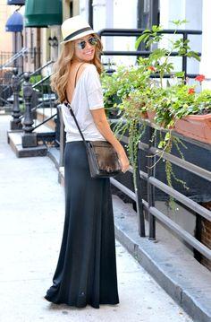 a casual look - maxi skirt & fedora.